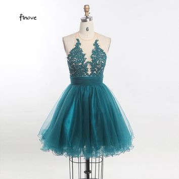 New Short  A Line Halter Backless Tulle Appliques Formal Prom Gown Sweet Cocktail Dresses Women Homecoming Dresses
