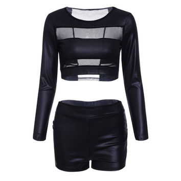 Sexy Black See-Through Faux Leather Spliced Crop Top+Bodycon Shorts Twinset For Women