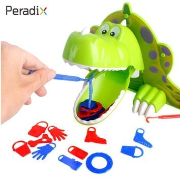 Dinosaur Toy Hunger Dino Toy Bite Finger Game Funny Exciting ABS Green Jokes Kids Toy Parents-Kids Interactive Party