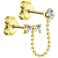 Silver and Gold Plated Clear CZ Bow Ear to Cartilage Stud Earring | Body Candy Body Jewelry