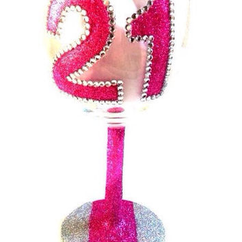 Glittered Wine Glass w/ 21 by MBellaBowtique on Etsy