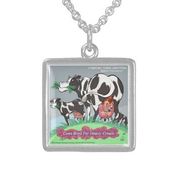 Cows Making Heavy Cream Funny Cartoon Silver Plated Necklace