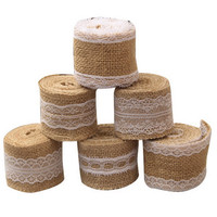 Festival 2M Natural White Jute Edge Burlap Hessian Tape Rustic Ribbon With Trims Vintage Wedding Decoration Party VBT54 P69