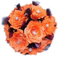 Orange bouquet, Fall Wedding bouquets, Paper Flower Bouquets, Plum bouquet, Fake flower bouquet, silk flower bouquet, Faux flower bouquet