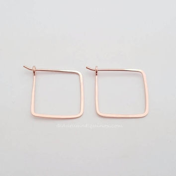 Square Hoop Earrings 14k Rose Gold Filled