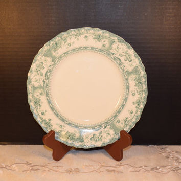 Wedgewood Phoebe Blue Green Lunch Plate Vintage 1900s Wedgewood China Blue Green Floral Plate Made in England Royal Porcelain Dinnerware