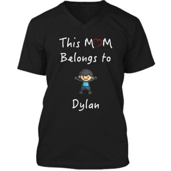 This Mom Belongs To Dylan T-Shirt Mother Love Son Gift Mens Printed V-Neck T