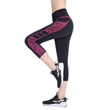 Black & Pink Spandex High Waist Yoga Capri Workout Leggings