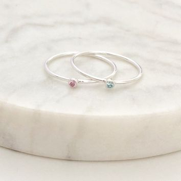 Birthstone stacking Ring - Silver