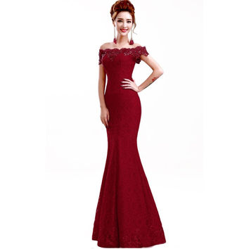 Hot Sale Elegant Beads Lace Mermaid Long Evening Dress 2016 Cheap Red Prom Dresses Robe De Soiree Off The Shoulder Party Dress