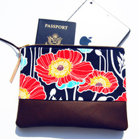 FLORAL LEATHER CLUTCH, navy zipper pouch, navy and red flowers, classy fall purse, leather accent pouch, iPad sleeve, kindle case