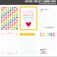 Live Free : Love Life 2 Digital Journal Cards - 3x4 project life inspired scrapbooking journaling note cards  - instant download - CU OK