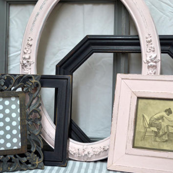 Set of 6 Shabby Cottage -Vintage Frames- Contrasting Colors in Soft Petal Pink, Grey and Charcoal-Nursery-Wedding -Rustic Cottage Decor.