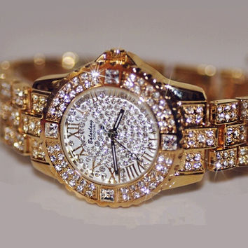 The-Man Austrian Diamond Women Rhinestone Watches Rose Gold Lady Quartz Watch = 1956403076