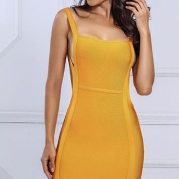 Soaring High Yellow Gold Sleeveless Backless Square Neck Cut Out Side Bodycon Bandage Mini Dress
