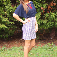 Catch The Wave Dress, Navy