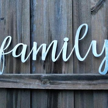 Metal Family Sign-The Word Family-Family Sign-Metal Words-Metal Wall Decor-Christmas gift-Wall Art-Handmade Decor-Outdoor Art-Gift For Her
