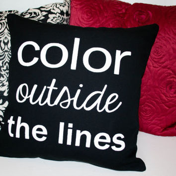 "Canvas Stenciled Pillow -Color Outside the Lines - 16x16"" Pillow - Shabby Home Decor - Modern Pillow"