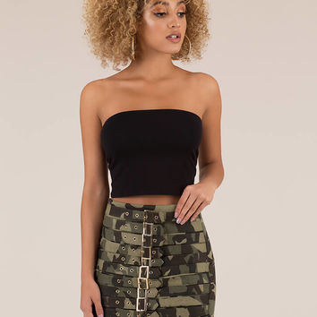 Camo Convert Strappy Buckled Miniskirt