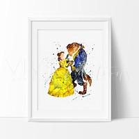 Beauty and the Beast 3 Watercolor Art Print