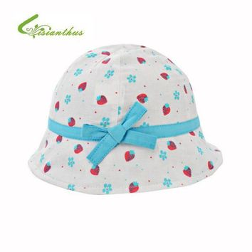 ONETOW Kids Summer Hat Outdoor Bucket Style Strawberry Printing Bowknot Beach Princess Sun Hat Accessories Girls Children Panama Cap