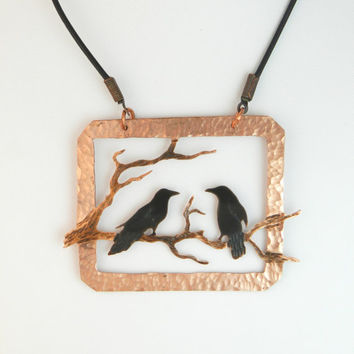 Handmade Two For Joy copper crow pendant, Two Crows pendant, crow necklace, raven pendant, crow jewelry, raven jewelry, rook, gifts for mom