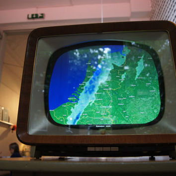 Vintage television with digital screen