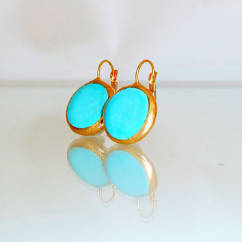 Turquoise earrings,Turquoise Gold Earrings, simple everyday, ocean jewelry,  Gold post Summer Fashion.