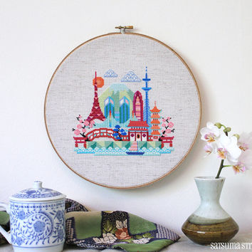 Pretty Little Tokyo - Modern Japanese Cross stitch pattern PDF - Instant download