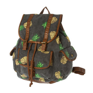 Dark Denim Pineapple Print Backpack