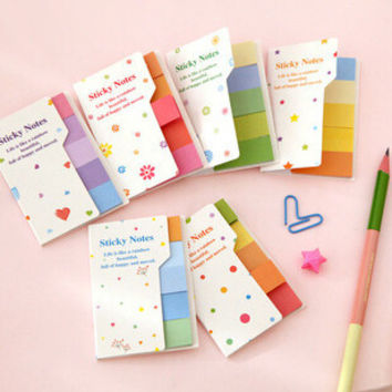 Sweet Candy Color Rainbow Double-Face Self-Adhesive Memo Pad Notepad Sticky Notes Bookmark Marker Home Office School