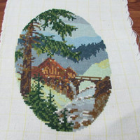 Handmade Oval Gobelin, Forest Landscape, Beautiful Decor for Your Wall