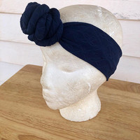 Navy Easter Handmade Rose Knot Headband-Baby Hair Accessories-Toddler Kid's Headband-Women's Knit Head Scarf-Gifts For Her