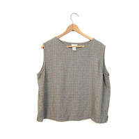 90s Eileen Fisher Tank Top Minimal Taupe Cropped Shirt Rayon Crop Top Basic Modern Tank Simple Loose Fit Blouse Top Women's Large