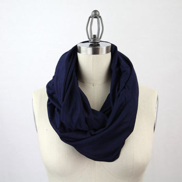 navy jersey infinity scarf, blue scarf, royal blue scarf, cotton scarf, navy blue scarf, solid navy scarf