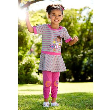 Licensed cool DISNEY STORE DOC MCSTUFFINS PINK STRIPE DRESS AND LEGGINGS SET  SHIPPING NEW