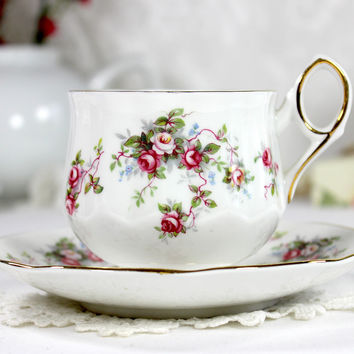 Vintage Floral Teacup and Saucer, High Handled, Footed Rosina Tea Cup  - 12453