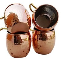 Hammered Copper Moscow Mule Mug Handmade of 100% Pure Copper, Nickel Lined, Brass Handle Hammered Moscow Mule Mug / Cup 16 Ounce,set Of-4,
