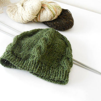 merino alpaca knit beanie, braided knit beret, moss green handknitted hat, knit slouchy beanie with cable stitch by cosediisa