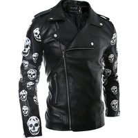 Slim Fit Leather Biker Jacket with Diagonal Zipper and Skull Sleeves