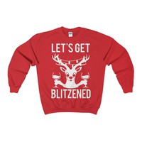 Ugly Christmas Sweater - Let's Blitzened Party Sweatshirt