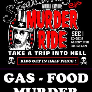 "Halloweentown Store: Rob Zombie's Exclusive House of 1000 Corpses""Murder Ride"" T-shirt With Back Print"