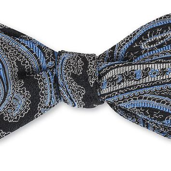 Black/ Blue Quicksilver Paisley Bow Tie - B4147
