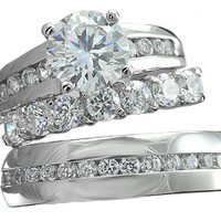Alexis's His & Hers Matching Stainless Steel Round Cut CZ Wedding Ring Set