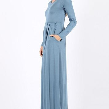 Pleated Waist Long Sleeve Dress With Side Pockets