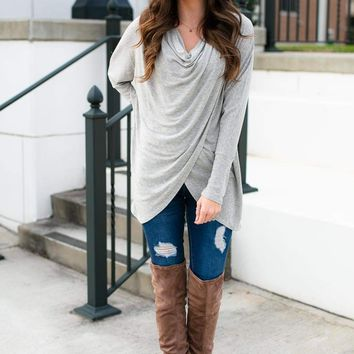 Plan It Out Swoop Neck Top in Grey