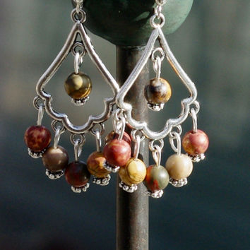 Picasso Jasper Stone Earrings ~ Earth Colours ~ Bohemian Jewellery ~ Semi Precious Stones ~ Red Green Brown and Yellow Stones ~ Boho