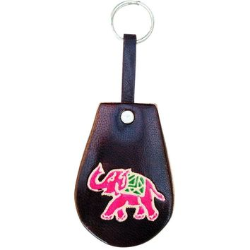 Soft and Colorful Embossed Genuine Leather Keychain - Elephant