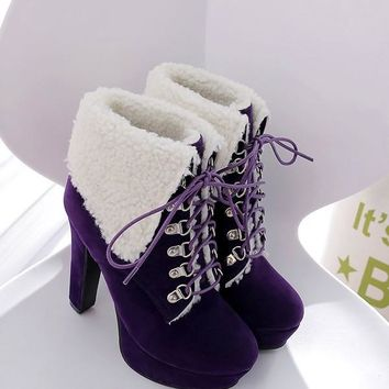 New Purple Round Toe Chunky Fashion Ankle Boots