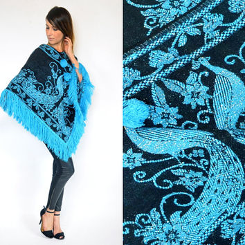 metallic ETHNIC turquoise blue mexican PEACOCK bohemian gypsy PONCHO cape, extra small-medium